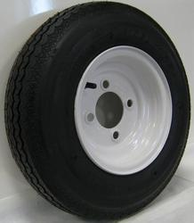 BIAS TIRE ON SOLID WHITE STAMPED 4 BOLT